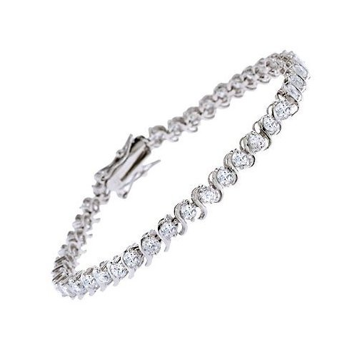 "C.Z. Rhodium Plated 3MM ""S"" (.925) Sterling Silver Tennis Bracelet"