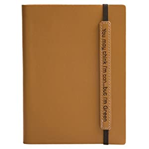 Eccolo Writing Green Terra 5 x 7-Inch Recycled Leather Lined Journal, Tan