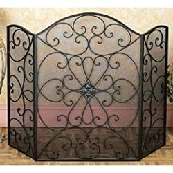 Deco 79 21626 Metal Fire Screen Ultimate in Fire Protection Category from Benzara