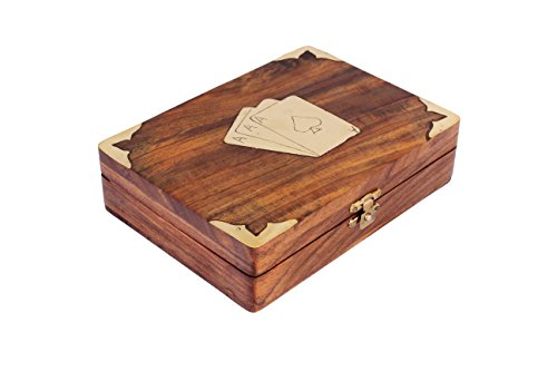 Classic Wooden Bicycle Playing Cards Holder Double Deck Case Storage Box with Brass Ace Design Family Card Game Poker Table Accessories (Lids Gift Cards Store compare prices)