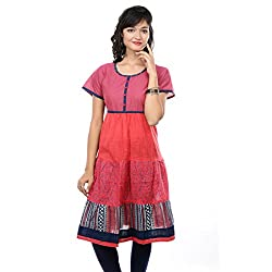 Saamarth Impex Classic Printed Red Color Cotton Half Sleeve Anarkali Style Kurities SI-2086
