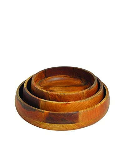Be Home Ombre Mango Wood Set of 3 Serving Bowls, Brown