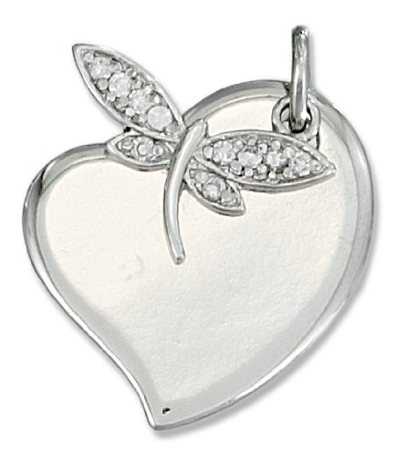 Sterling Silver Heart with Dragonfly Pendant