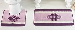 Victorian Medallion Bathroom Rug Set, Purple