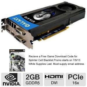 Galaxy GeForce GTX 670 2 GB GDDR5 PCI Express 3.0 DVI/DVI/HDMI/DP SLI Ready Graphics Card, 67NPH6DV5ZJX Graphics Cards 67NPH6DV5ZJX from Galaxy