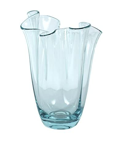 Freeform Ruffled Edge Vase, Ice Blue
