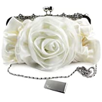 Missy K Rose Clutch Purse, Satin, with 2 Detachable Straps - White + kilofly Money Clip