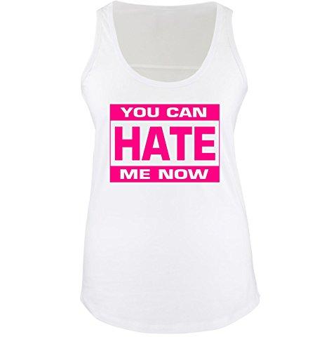 Comedy Shirts - YOU CAN HATE ME NOW - Donna Tank Top canottiera - bianco / fucsia taglia XL