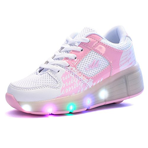 FOUPLER Boys LED Light Up Roller Skate Shoes With Wheels Outdoor Sneakers (Pink US Size 13/EUR31)