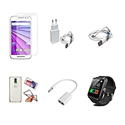 High Quality Combo of Moto G3 Temper Glass + 1 Amp USB Charger + USB Data Cable + Attractive Back Cover (Transparent Back with Golden Border) + Audio Splitter Cable