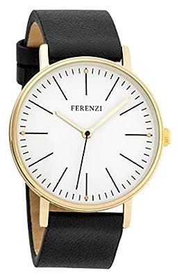 Ferenzi Women's | Fashion Minimalist Gold Watch with Black PU Leather | FZ17203