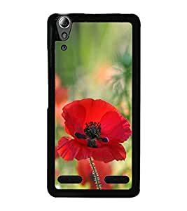 Red Flower 2D Hard Polycarbonate Designer Back Case Cover for Lenovo A6000 Plus :: Lenovo A6000+ :: Lenovo A6000