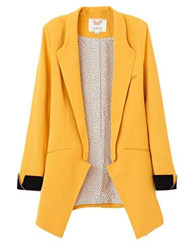 La Vogue-Giacca da Donna Blazer Slim Jacket Manica Pieghevole in Misti (Petto: 86cm, Giallo)