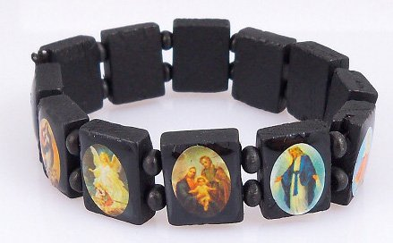 4030162 Saints Jesus Black Bracelet Wooden with Beads Stretch