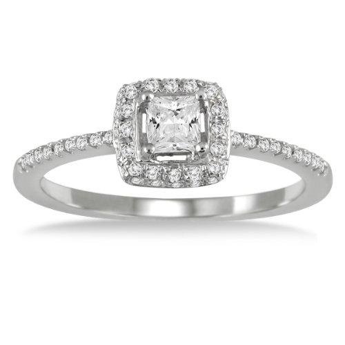 Sale 1/2 carat Princess Halo Engagement Ring in 10K White Gold