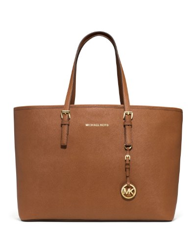 Michael Kors Women'S Medium Saffiano Travel Leather Shoulder Tote - Luggage