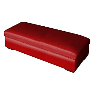 Bonded Leather Ottoman Coffee Table Red Baby