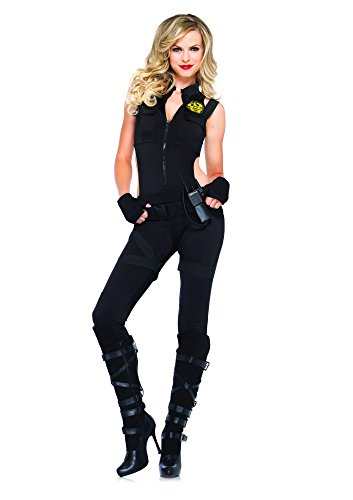 [Leg Avenue Women's 4 Piece SWAT Knockout Costume, Black, Medium] (Knock Out Costumes)