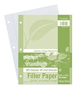Ecology College Ruled Recycled Filler Paper,White, 150 Sheets (3202)