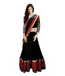 Khazanakart Designer Black Color Net Fabric Un-stitched Lehenga Choli With Chiffon Dupatta Material.