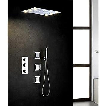 Thermostat Chrom Badezimmer Mit Dusche Wasserhahn Set 6 St Uml Sup1 Ck Wechselstrom Led Lampen Eingebettet Regendusche Kopf Baumarkt Aryceba