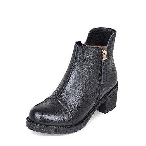 VogueZone009 Donna Punta Tonda Tacco Medio Bassa Altezza Puro Stivali con Metallo, Nero, 38