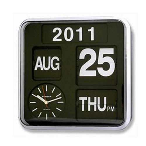 Retro Fartech Modern Calendar Auto Flip Desk Wall Clock (White +Black)