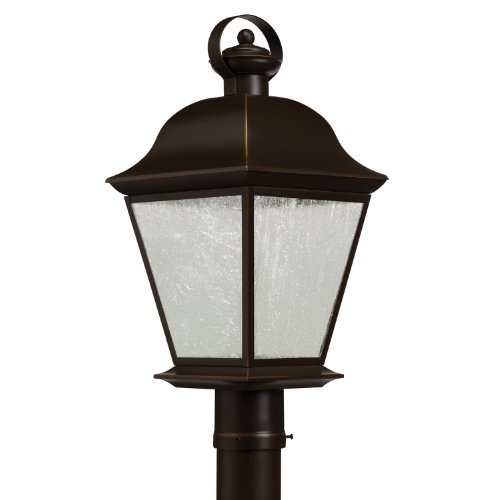 Kichler Lighting 9909Ozled Mount Vernon 10W 3000K Led Exterior Post Lantern, Olde Bronze Finish With Etched Seedy Glass