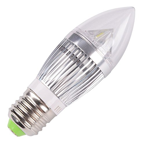 10 Pcs E27 12W Silver (4 Smd) Flame High Power Led Chandelier Candle Light Bulb Non-Dimmable, Cool White