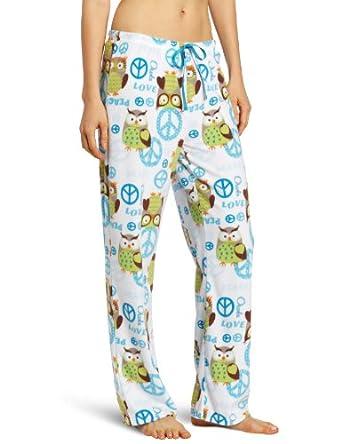 Goodnight Kiss Women's Minky Fleece Pant, Turquoise Owl Print, Small