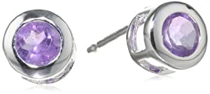 Sterling Silver Round 4mm African Amethyst Stud Earrings from Amazon Curated Collection