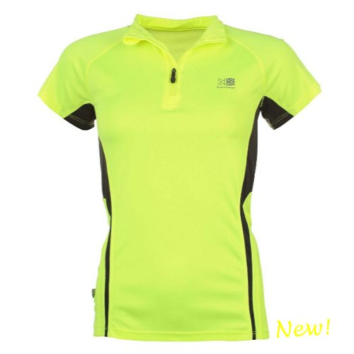 Ladies Running, Cycling, Training Top by Karrimor. Short Sleeve Quarter Zip Womens Top. Hi Viz Fluorescent Yellow with Breathable Mesh Panels.