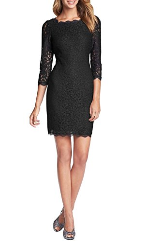Berydress 3/4 Sleeve Full Zip Back Short Lace Cocktail Dress (8, Black)