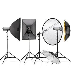 Walimex Pro Studioset VC-400/400/300 (Studioblitz 400 Ws, 300 Ws, Lampenstative, Softboxen 60x90 cm)