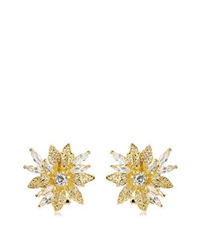 CZ by Kenneth Jay Lane KE615 CLGO 18K Gold Plated Cz Floral Spray Post Earrings
