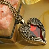 Fashion Vintage Palace Heart Pendant With Chain-Red