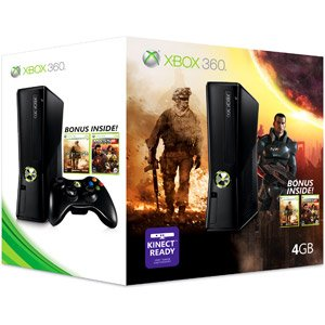 Xbox 360 4GB Video Game System with Bonus (Call of Duty: Modern Warfare 2 and Mass Effect 2)