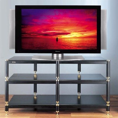 Cheap BL Series 3-Shelf 43″ TV Stand Shelves: Black, Poles/Caps: Silver Grey Poles/Nickel Caps (BL503SSB)