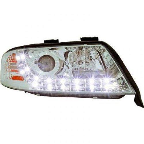 phares à LED diurnes, DragonLights, chrome A6 97-01 chrome avec clign. DRAGON LIGHTS pour régl. électr. H1+H1