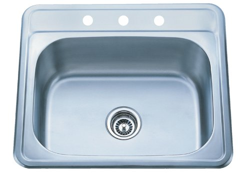 Kraus 25 Inch Topmount Single Bowl 18 Gauge Stainless Steel Kitchen Sink front-82651