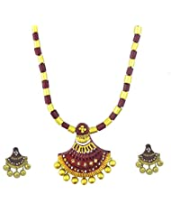 "ARTWOOD ""Hai Re Mera Ghagra"" Maroon Golden Fusion 3-piece TerraCotta Jewellery Set"