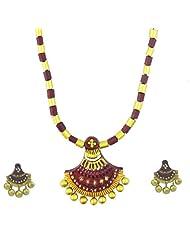 "ARTWOOD ""Hai Re Mera Ghagra"" Maroon Golden Fusion 3-piece TerraCotta Jewellery Set"