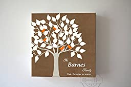 MuralMax - Personalized Unique Family Tree - Stretched Canvas Wall Art - Make Your Wedding & Anniversary Gifts Memorable - Unique Wall Decor - Brown - 30-DAY - Size 40 x 40