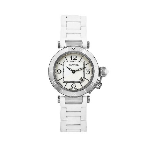 Cartier Women's W3140002 Pasha White Rubber Stainless-Steel Bezel Watch