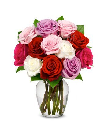 Ar Flowers – One Dozen Assorted Sweetheart Roses (Free Vase Included) – Same Day Flower Delivery, Next Day Flower Delivery, Send Flowers Online, International Flower Delivery, Anniversary Flower, Wedding Flowers Online, Birthday Flowers Delivery