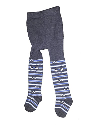 Bomio Toddlers Baby Boys Girls Cotton Warm Tights, Various Patterns and Sizes Available (6-12m, Gray-Striped-Novelty)