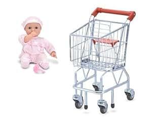 Amazon Com Melissa Amp Doug Shopping Cart And Baby Doll
