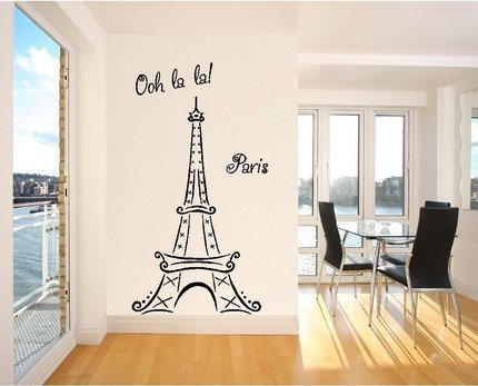 Eiffel Tower Ooh La La Paris 6ft tall Wall Sayings Decal Vinyl Wall Art