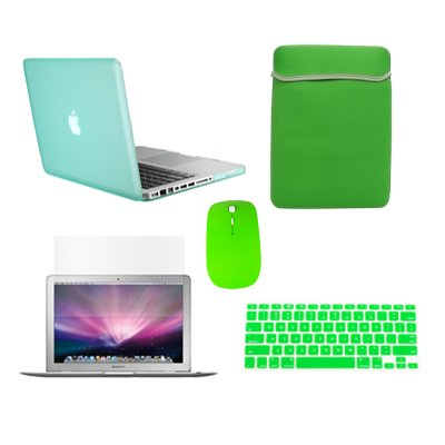 """Topcase Macbook Pro 15"""" A1398 With Retina Display 5 In 1 Bundle - Rubberized Hard Case Cover (Latest Version / No Dvd Drive / Release June 2012) + Matching Color Soft Sleeve Bag +Wireless Mouse + Silicone Keyboard Cover + Lcd Hd Clear Screen Protector Wit"""