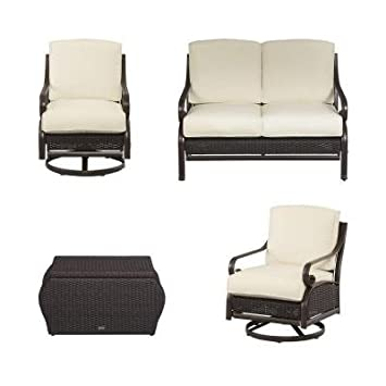 Patio Furniture Outdoor Lawn Garden Martha Stewart Living Cedar Island All  Weather Wicker 4 Pc